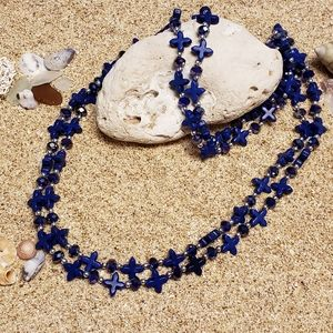 Blue Beaded Wrap Around Necklace